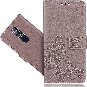 CaseExpert Nokia 7.1 Funda, Wallet Flip Billetera Flower Carcasa Caso Cover Case Funda de Cuero para Nokia 7.1