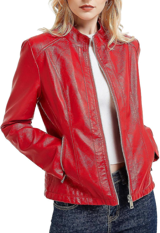 Geschallino Women's PU Leather Jacket, Moto Biker Jacket with Zip Pockets, Vintage Short Coat for Autumn, Spring