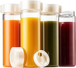 Komax Juice Bottles 18.5-oz | Set-of-4 Reusable Juice & Smoothie Bottles | Premium BPA-Free Plastic, Shatterproof, Leakproof, Freezer & Dishwasher Safe | Wide Mouth Juice & Smoothie Container
