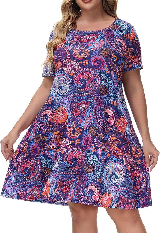 Hanna Nikole Women's Summer Casual T Shirt Dresses Short Sleeve Loose Dress with Pockets