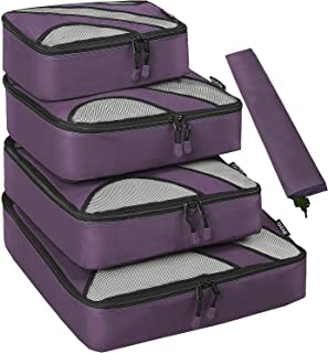 BAGAIL 4 Set Packing Cubes,Travel Luggage Packing Organizers with Laundry Bag(Dark Grey)