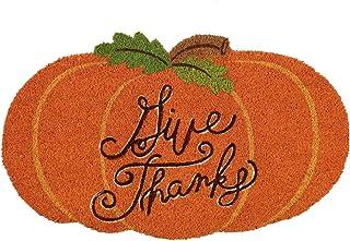 DII Natural Coir Doormat Fall & Thanksgiving Seasonal Mat, 18x30, Give Thanks Pumpkin