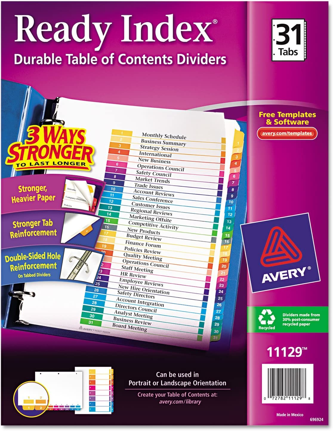 Avery 11129 Index Dividers T Contents Tulsa Mall 2-Inch 3HP Max 43% OFF x1 1-31 8-1 Tab