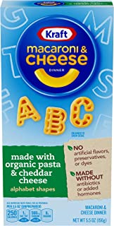 Kraft Organic Pasta Macaroni & Cheese with Alphabet Shapes (5.5 oz Boxes, Pack of 12)