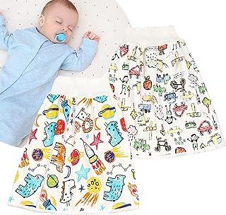 7-دريم لاند تنورة الحفاضات المقاومة للماء من قطعتين، قطعتين، ملابس داخلية مطورة للفتيات، مصنوعة من القطن المسامي 0-4T