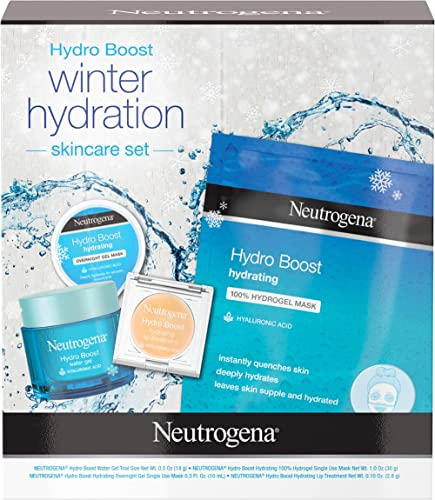 Neutrogena Hydro Boost Winter Gift Set with Hyaluronic Acid Gel Cream, Sheet Face Mask, Overnight Gel Mask, and Lip T...