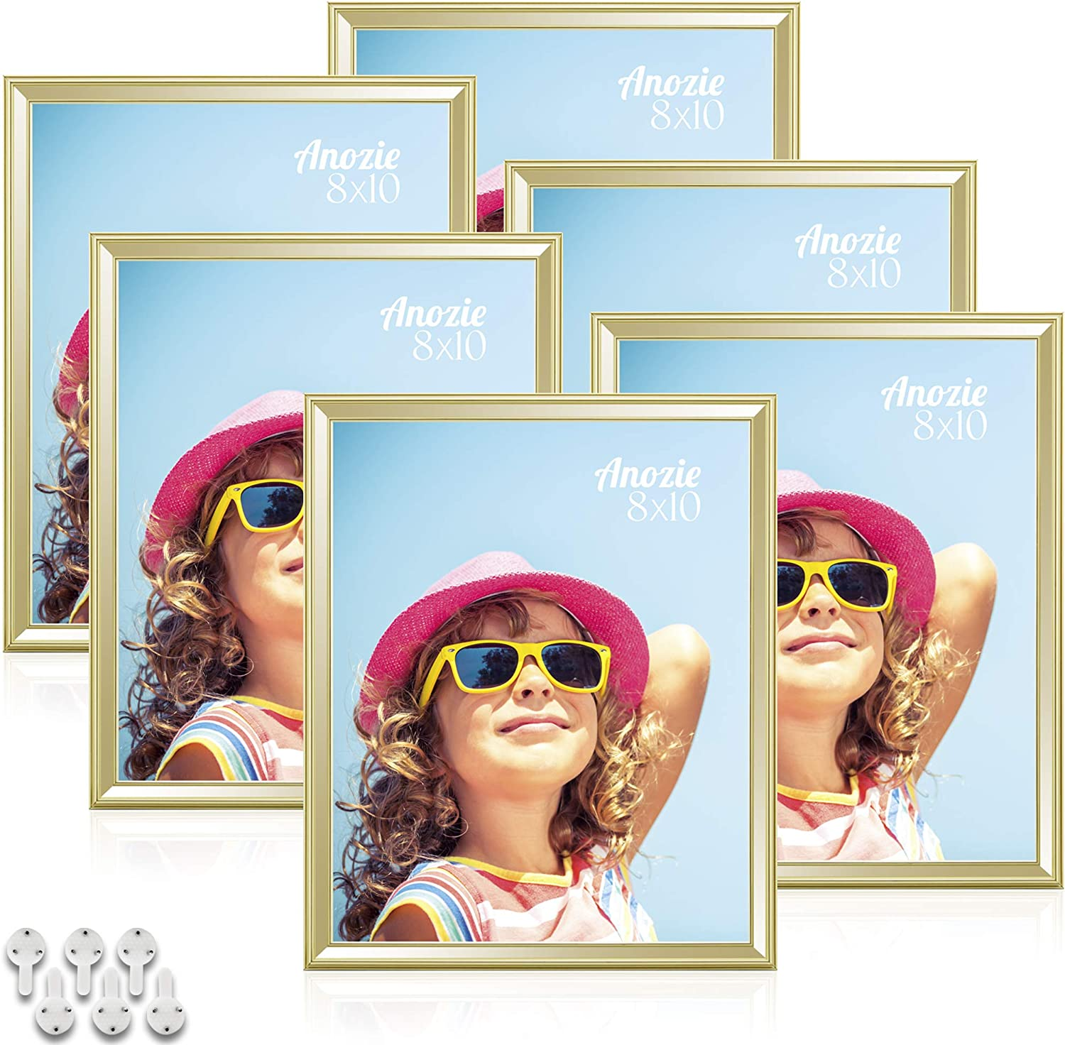 Anozie 8X10 Tulsa Mall Picture Frames safety 6 Pack Gold Moulding Simple Pho Line