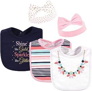 Little Treasure Baby Girls' Bib and Headband Set