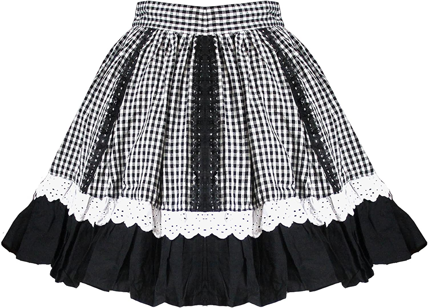 Funhouse Retro 50's Rockabilly Swing Vintage Style Gingham Black & White Checked Skirt