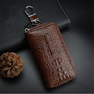 [M.JVisun] Key Case Key Cover Holder Bag, Genuine Leather Cool Pattern for Men Women Keychain Universal Car Key Chain Unisex Coin Holder Metal Hook Keyring Wallet Zipper Pouch for Auto Vehicle Key Fob (Brown)