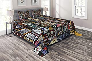 Lunarable New York Coverlet, Sketched Pop Art Style The Fifth Avenue Vibrant Lifestyle and Colorful Billboards, 3 Piece Decorative Quilted Bedspread Set with 2 Pillow Shams, Queen Size, Multicolor