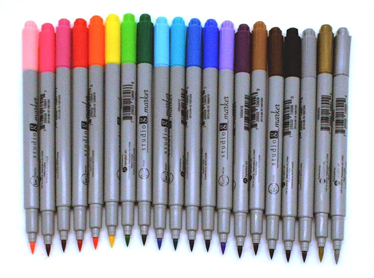 20 Brush Point Marker Pen Bundle Set for Adult Color Books - Hampton Art - Studio G