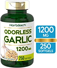 Odorless Garlic Softgels | 1200 mg | 250 Count | Ultra Potent and Pure Garlic Extract | Non-GMO & Gluten Free Pills | by Horbaach