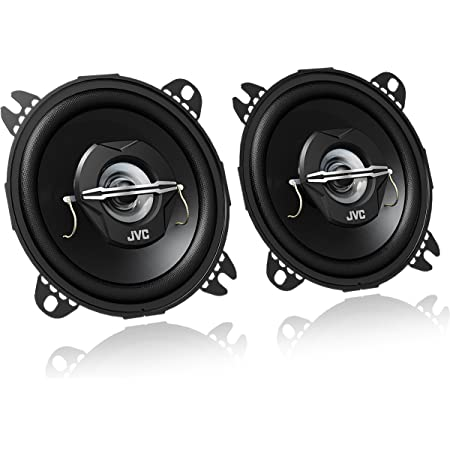 JVC CS-J420X - Altavoces coaxiales para coche (21 W RMS, 45 - 22000 Hz, 10cm (4'), 2 vías), negro