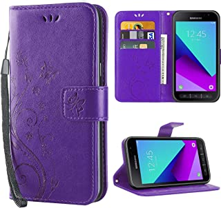 Korecase Galaxy Xcover 4 Case, Samsung Xcover 4 Flip Case Leather Wallet Kickstand Cards Holder Butterfly Flower Pattern Stand Cases for Galaxy Xcover 4 Purple