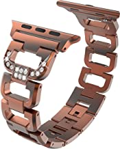 Bling Watch Bands,Fashion and Classic Metal Watch Band/Wristband with Easy Removal Links for Apple Watch(38MM Bronze)