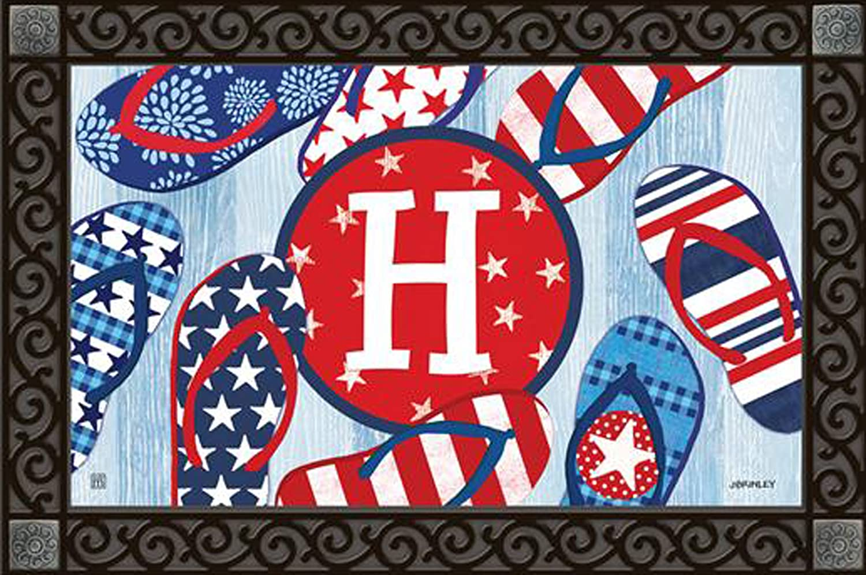 Freedom Flip Flops Monogram H Doormat Indoor Outdoor Patriotic Letter H MatMates