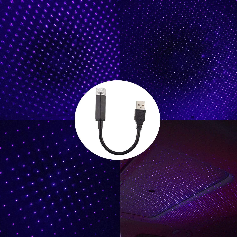 ,Bleu 5 pi/èces OLDFAI Voiture Int/érieur Atmosph/ère Lumi/ère USB Toit de Voiture /Étoile Ciel Lampe Ambiant /Étoile Lumi/ère LED Projecteur Veilleuse Plusieurs Effets D/éclairage