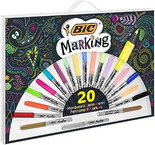 BIC Marking Marqueurs Permanents à Pointe Conique Moyenne (1,8 mm) - Assortiment de Couleurs dont 3Métalliques, Boîte de 20