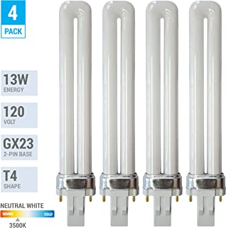 1//PK HC Lighting LED Plug and Play Fluorescent Replacement Ballast GX23 Bi-Pin Base HYBrid Natural White 5.5 Watt LED 3500K 500 Lumen Output LED Retro Fit Light Bulb
