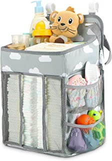 SKEIDO Hanging Diaper Caddy Organizer - Diaper Stacker for Changing Table, Crib, Playard or Wall