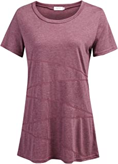 Women's Casual Loose Short Sleeve Shirts Yoga Tops Activewear Running Workout T-Shirt Blouse