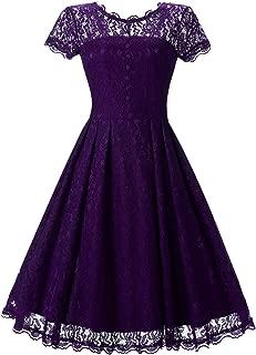 Angerella Women's Retro Floral Lace Cap Sleeve Vintage Bridesmaid Cocktail Dress