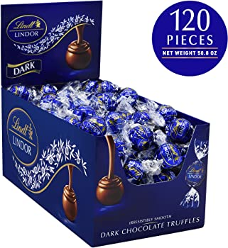120-Count Lindt LINDOR Dark Chocolate Truffles, 50.8 oz (Kosher)