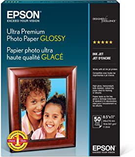 Epson Ultra Premium Photo Paper GLOSSY (8.5x11 Inches, 50 Sheets) (S042175),White