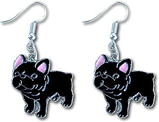 French Bulldog Gift Puppy Enamel Charm Dangle Earrings