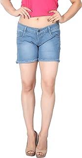 FCK-3 Women Silky Stretchable Designer Frayed Hem Denim Hot Short
