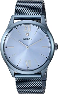 Stainless Steel Sky Blue Ionic Plated Mesh Bracelet Watch with Genuine Diamond Dial. Color: Sky Blue (Model: U1214G4)