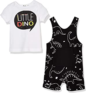 Silly Apples Baby Toddler Boys Summer Outfit 2-Piece Dinosaur Romper Jumpsuit and T-Shirt Set