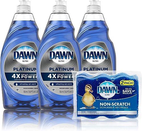 Dawn Dish Soap Platinum Dishwashing Liquid + Non-Scratch Sponges for Dishes, Refreshing Rain Scent, Includes 3x24oz +...