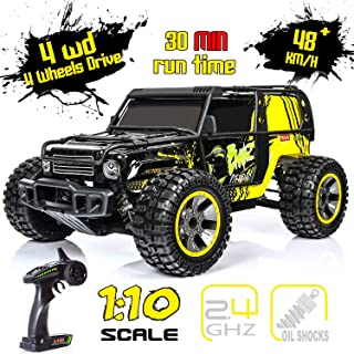 Remote Control Car, 1:10 Large Scale Electric RC Car Off-Road Monster Truck with High Speed 48km/h Wide Range 100M 2.4GHz 4WD, Anti-Collision R/C Cross-Country Racing Vehicle