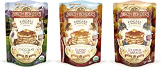Organic Pancake and Waffle Mix Sampler 3-pack by Birch Benders (Classic, Six-Grain Cinnamon, Chocolate Chip), Whole Grain, Non-GMO Verified, 3 x 16oz Pouches