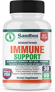 Sandhus Immune Support Elderberry Echinacea with Vitamin C & D, N-Acetyle L-Cysteine Supports Healthy Respiratory System P...