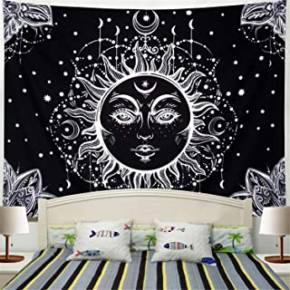 Racunbula Sun and Moon Tapestry Burning Sun with Star Tapestry Psychedelic Black and White Mystic Wall Tapestry for Bedroom