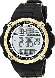 Armitron Sport Men's Gold-Tone Accented Digital Chronograph Black Resin Strap Watch, 40/8468GBK