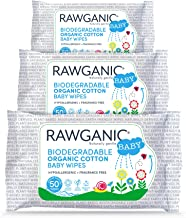 RAWGANIC Gentle Biodegradable Organic Cotton Baby Wipes, with Aloe Vera, Hypoallergenic Fragrance-Free Moist Wipes for Nap...