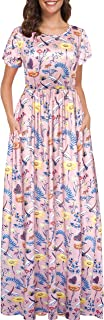 Afibi Women Short Sleeve Loose Floral Printed Casual Maxi Dress with Pockets