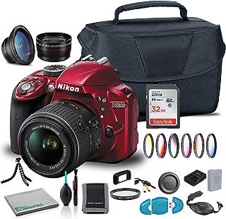 Nikon D3300 DSLR Camera with 18-55mm Lens (Red) (1533) USA Model + Camera Bag + Wide Angle Lens + 6 Piece Graduated Filter...