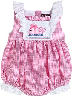 Lil Cactus Baby & Toddler Girls Gingham & Lace One Piece Bubble Romper
