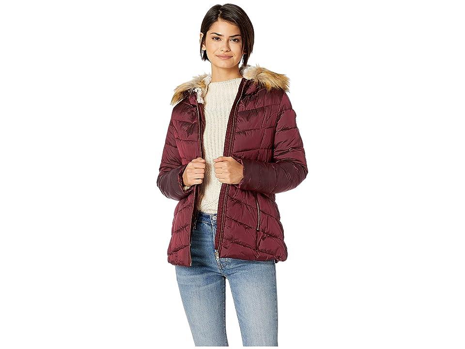 Jessica Simpson Quilted Jacket w/ Faux Fur Hood (Merlot) Women's Coat