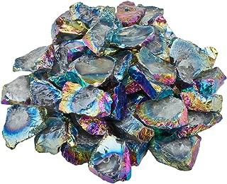 SUNYIK Hole Drilled Nautral Rock Quartz Rough Raw Loose Beads, Edge Titanium Coated Irregular Loose Beads for Jewelry Making, 1LB, Rainbow Aura