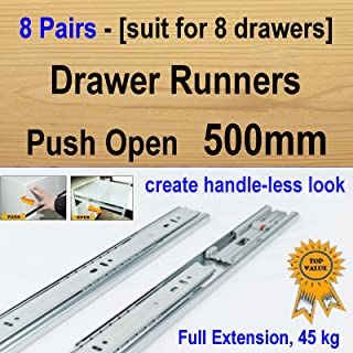 8 pairs push open ball bearing drawer runners / Slides Kitchen Vanity - 500mm