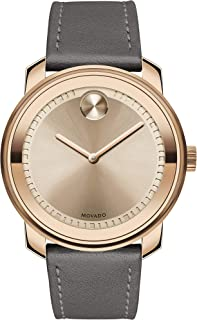Movado Mens' Bronze Dial Grey Leather Watch - 3600672