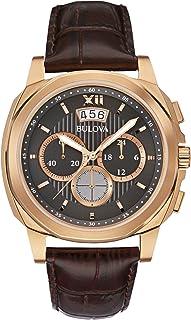 Bulova - Classic Vestido Reloj de Hombre de Cuarzo con Negro Esfera analógica Pantalla y Correa de Piel Color marrón 97b136