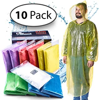 Rain Ponchos for Adults Disposable - 10 Pack w/Backpack Cover - Poncho for Men, Rain Ponchos for Women - Emergency Poncho Disposable Poncho - Pancho, Panchos Rain Adult - Ponchos Adult, Adult Poncho