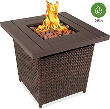 Best Choice Products 28in Fire Pit Table 50,000 BTU Outdoor Wicker Patio w/Lava Rocks, Cover, Tank Holder Brown
